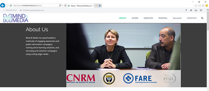 Screenshot of Mind & Media's corporate video, embedded in our website